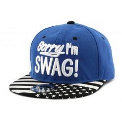 Snapback Sorry I'm Swag bleu avec visère drapeau US