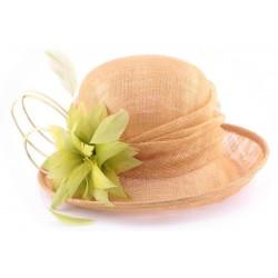 Chapeau Mariage Féronie en sisal beige et Anis
