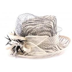 Chapeau Mariage Fraus en sisal zèbre noir et écru