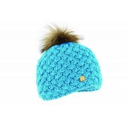 Bonnet Rmoutain Ice Turquoise + Pompon Raccon