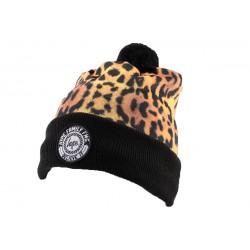 Bonnet à Pompon Hype Leopard et Noir