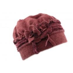 Toque femme en laine bouillie en coloris rose