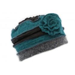 Toque en laine bouillie Léna Léon Montane Marine et Turquoise