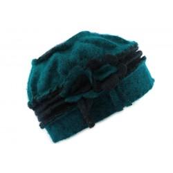 Toque en laine bouillie Olga Marine et Turquoise