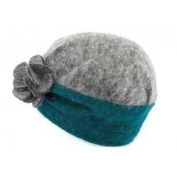 Toque laine bouillie Lydia Léon Montane Gris Bleu et Turquoise