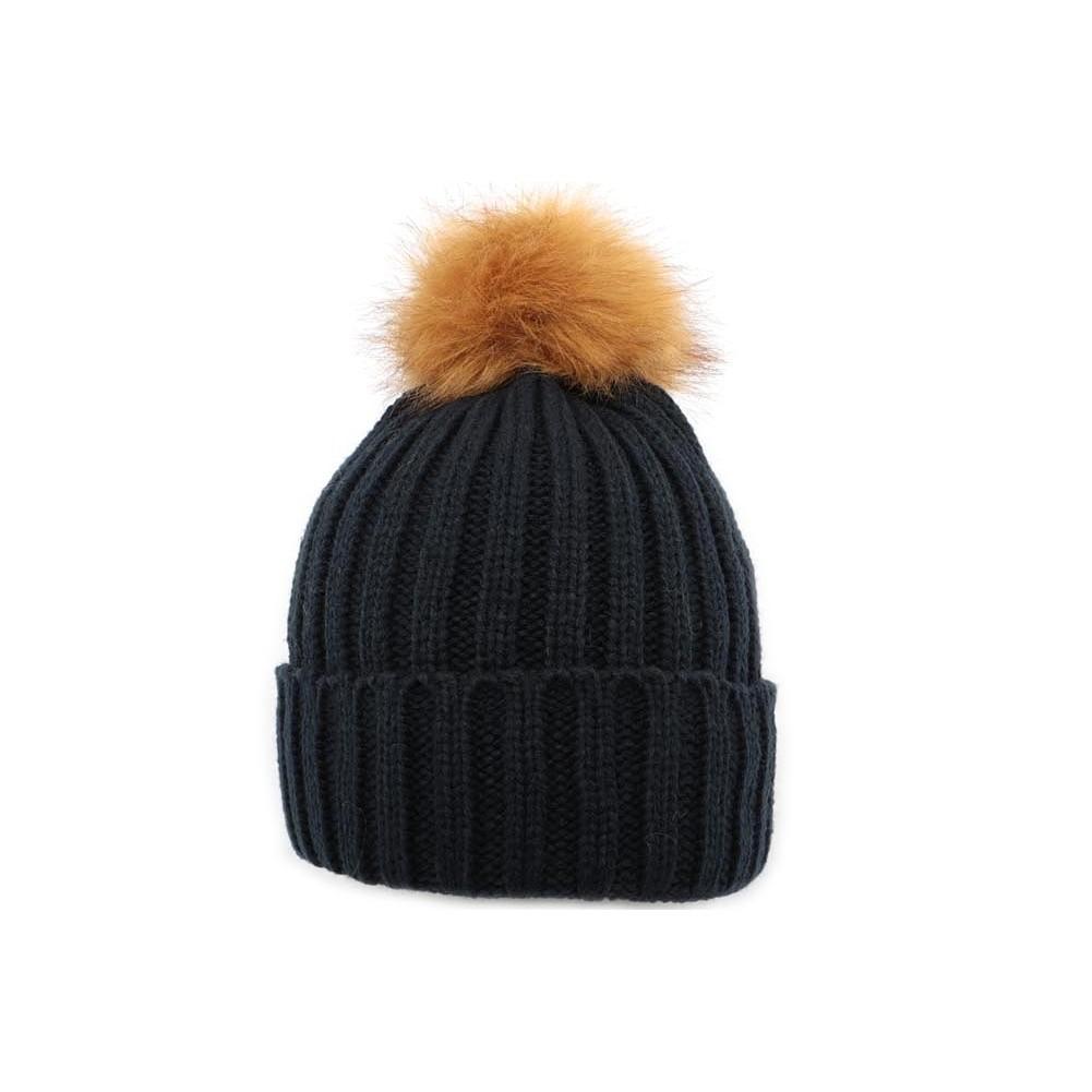 bonnet pompon pure noir bonnet en laine. Black Bedroom Furniture Sets. Home Design Ideas