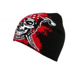 Bonnet Biker avec pirate Noir et Rouge