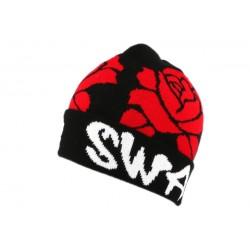 Bonnet Swag Noir et Roses Rouges