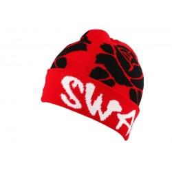 Bonnet Swag Rouge et Roses Noires