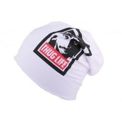 Bonnet Overside blanc Thug Life