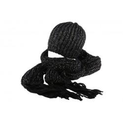 Bonnet et écharpe noir Rita par Nyls Création