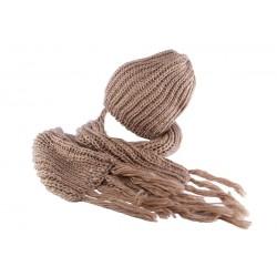 Bonnet et écharpe marron Rita par Nyls Création