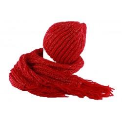 Bonnet et écharpe rouge Rita par Nyls Création