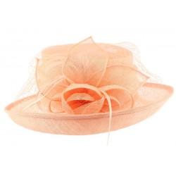 Chapeau Mariage Rose Saumon en sisal Luce