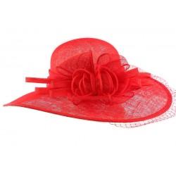 Chapeau Mariage Rouge Nymphea en paille sisal
