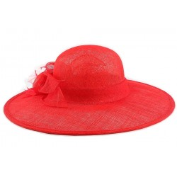 Chapeau Mariage Rouge Jewel en paille sisal