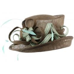Chapeau Mariage Marron et Turquoise Ita en paille sisal