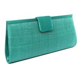 Pochette Mariage Vert Turquoise en sisal Sabine