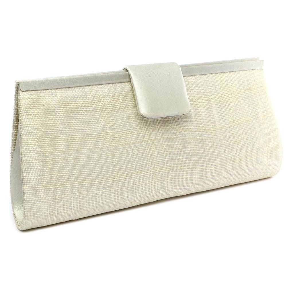 pochette mariage ivoire en sisal sabine - Pochette Mariage Ecru