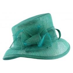Chapeau mariage Turquoise Sico en paille sisal