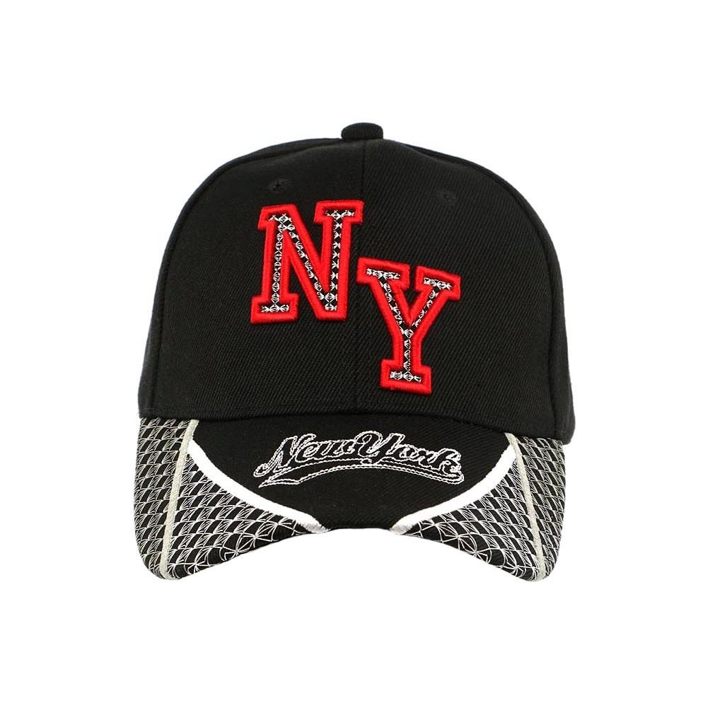 casquette baseball ny noire et rouge stan visi re curved new york. Black Bedroom Furniture Sets. Home Design Ideas