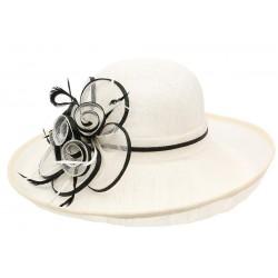 Chapeau Mariage Blanc et Noire en paille sisal Fraise