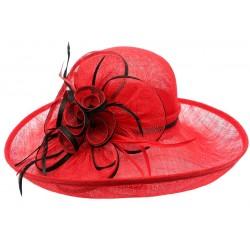 Chapeau Mariage Rouge en paille sisal Fraise