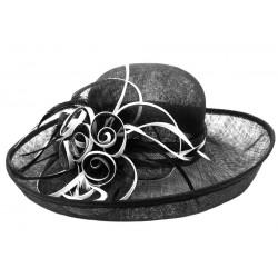 Chapeau Mariage Noir et blanc en paille sisal Fraise