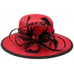 Chapeau Mariage Rouge et Noir Element en paille sisal