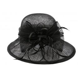 Chapeau Mariage Noir Thing en paille sisal