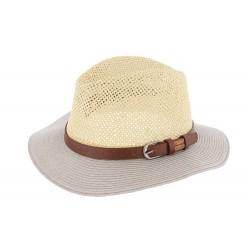 Chapeau paille Naturel et Gris Lloyd Herman Headwear