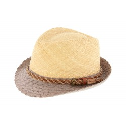 Chapeau paille Naturel et Gris Powell par Herman Headwear