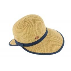 Chapeau paille naturel et marine Sophia Herman Headwear