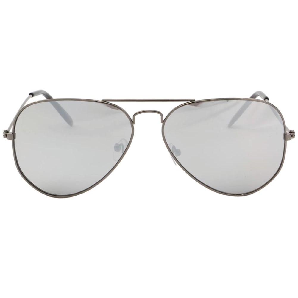 Lunettes de soleil aviateur gris fonc verre miroir never for Verre miroir lunette