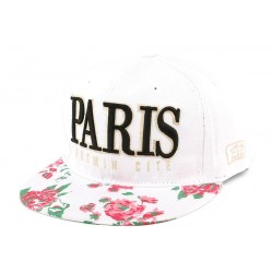 Snapback PARIS Blanche Rose Rouge