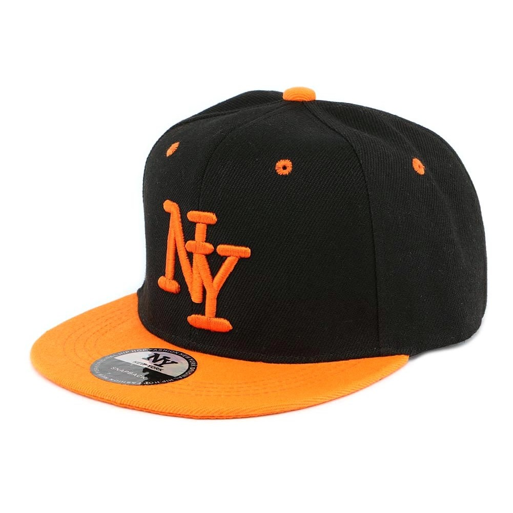 casquette enfant noir orange new york d s 7 ans snapback fille gar on. Black Bedroom Furniture Sets. Home Design Ideas