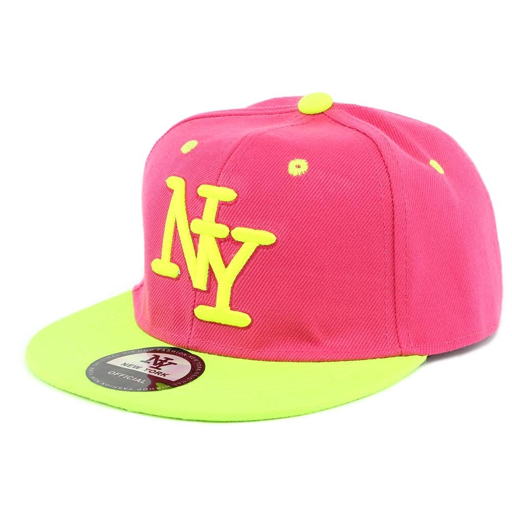 casquette ny enfant rose et jaune fluo partir de 7 ans livr 48h. Black Bedroom Furniture Sets. Home Design Ideas