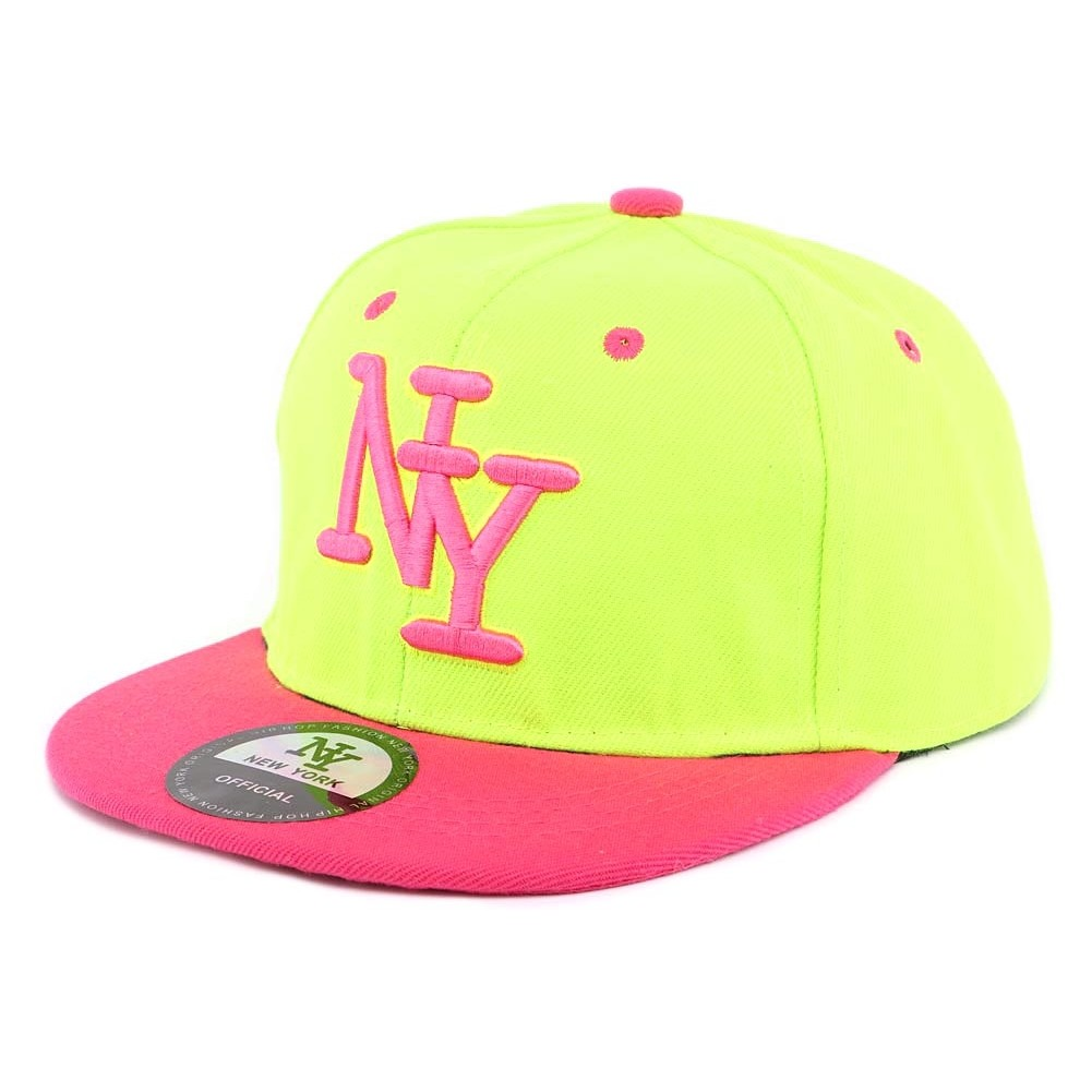 casquette ny enfant jaune fluo et rose d s 7 an snapback fille gar on. Black Bedroom Furniture Sets. Home Design Ideas