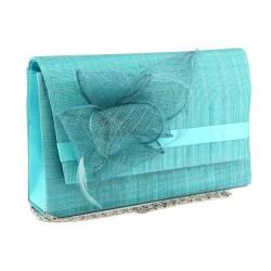 Pochette Mariage Turquoise en sisal Alexa
