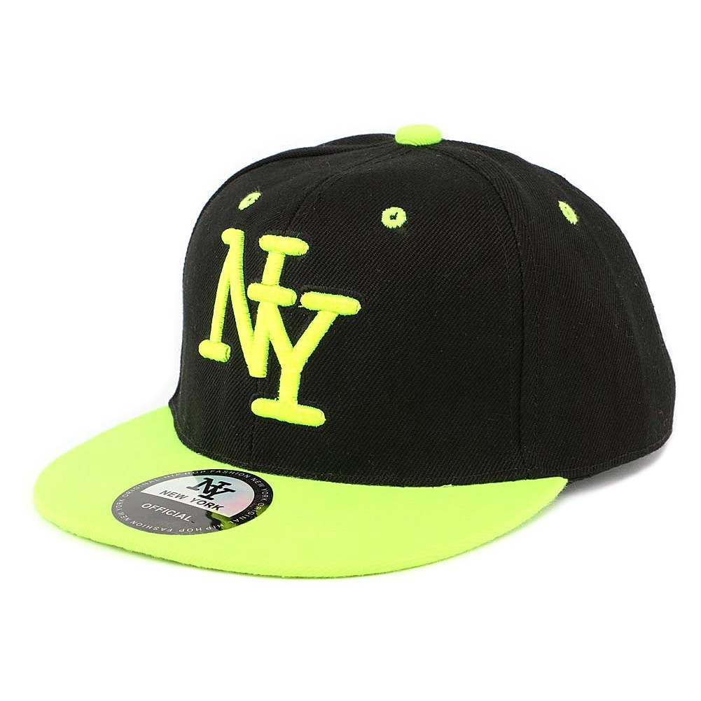 vente casquette enfant ny noir jaune fluo 6 11 ans snapback livr 48h. Black Bedroom Furniture Sets. Home Design Ideas