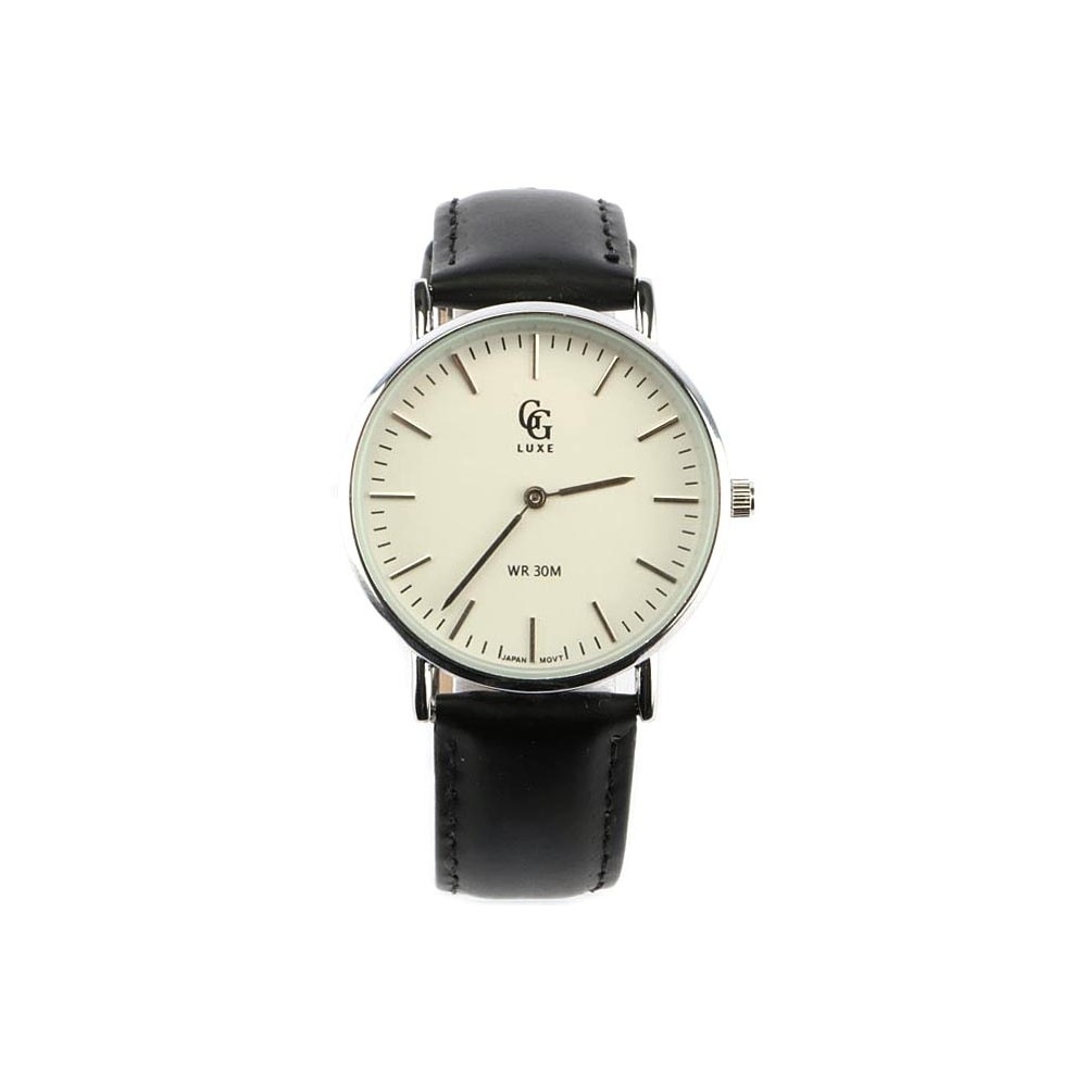 vente montre femme bracelet cuir noir nelly cadran blanc livr en 48h. Black Bedroom Furniture Sets. Home Design Ideas