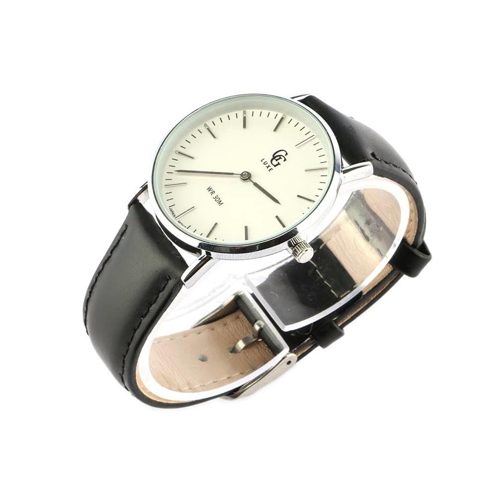 vente montre femme bracelet cuir noir nelly cadran blanc. Black Bedroom Furniture Sets. Home Design Ideas