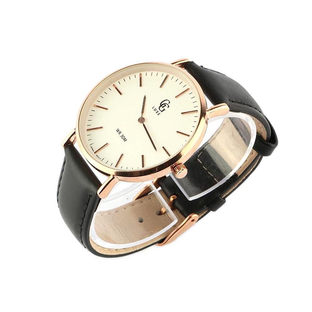 vente montre homme bracelet cuir noir et cadran dor nelson livr 48h. Black Bedroom Furniture Sets. Home Design Ideas
