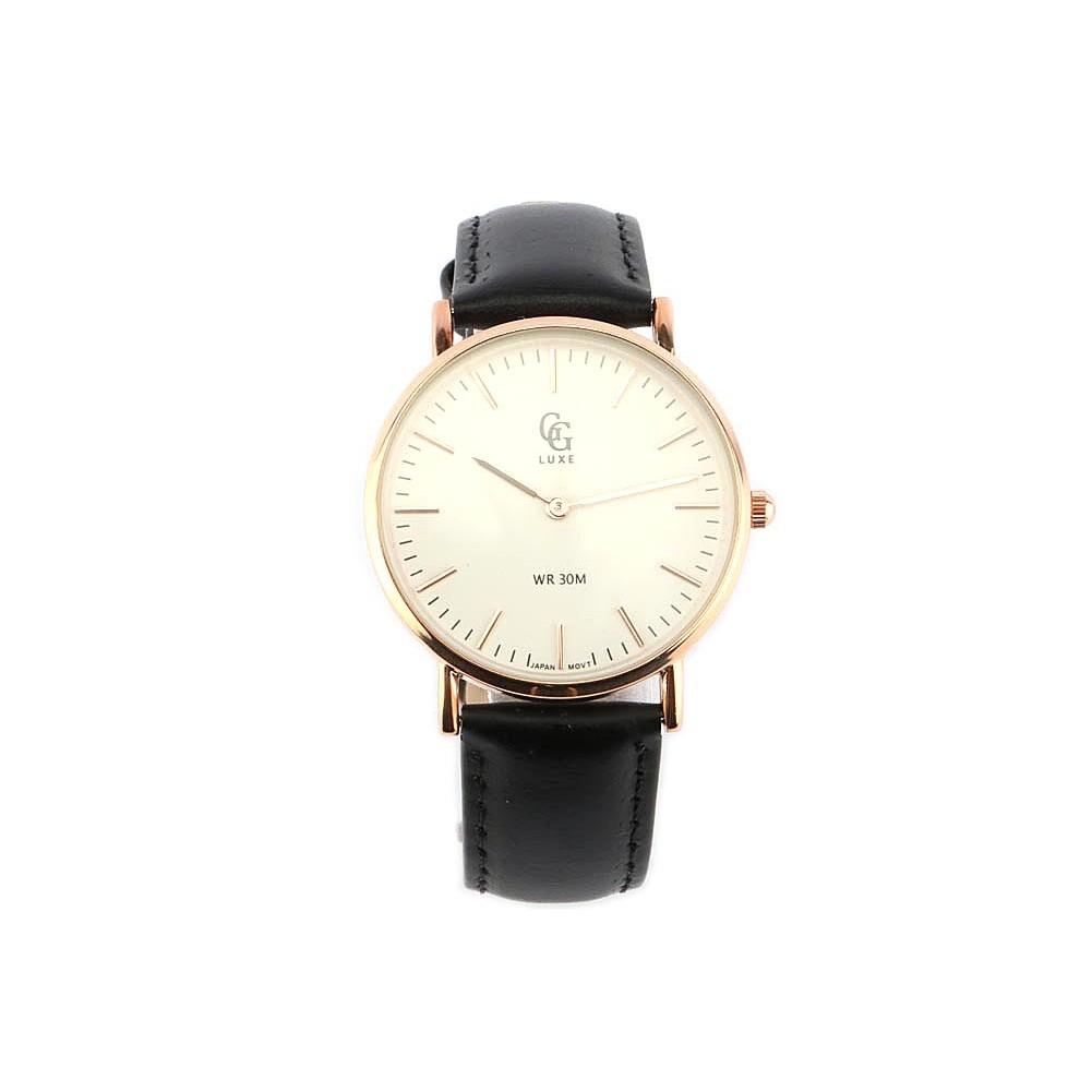 vente montre femme bracelet cuir noir cadran dor nelsy livr en 48h. Black Bedroom Furniture Sets. Home Design Ideas