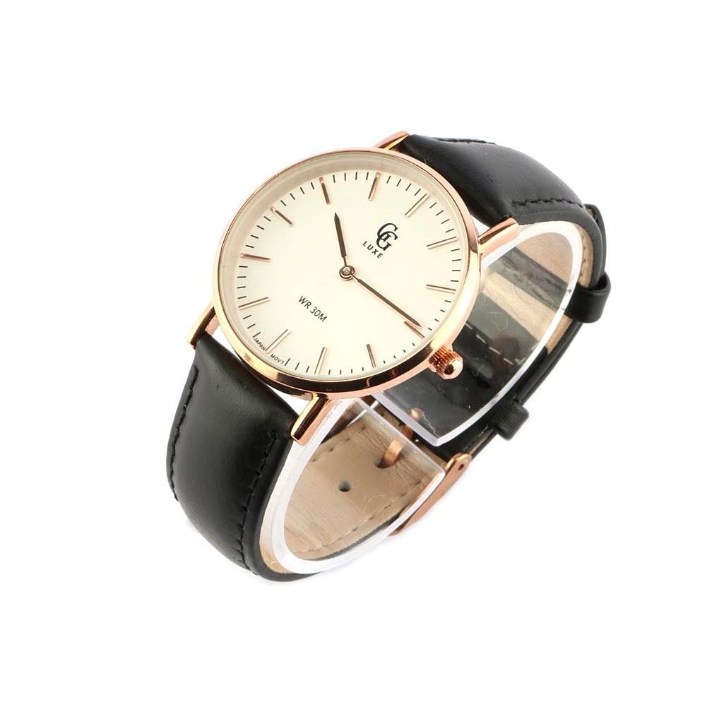 vente montre femme bracelet cuir noir cadran dor nelsy. Black Bedroom Furniture Sets. Home Design Ideas