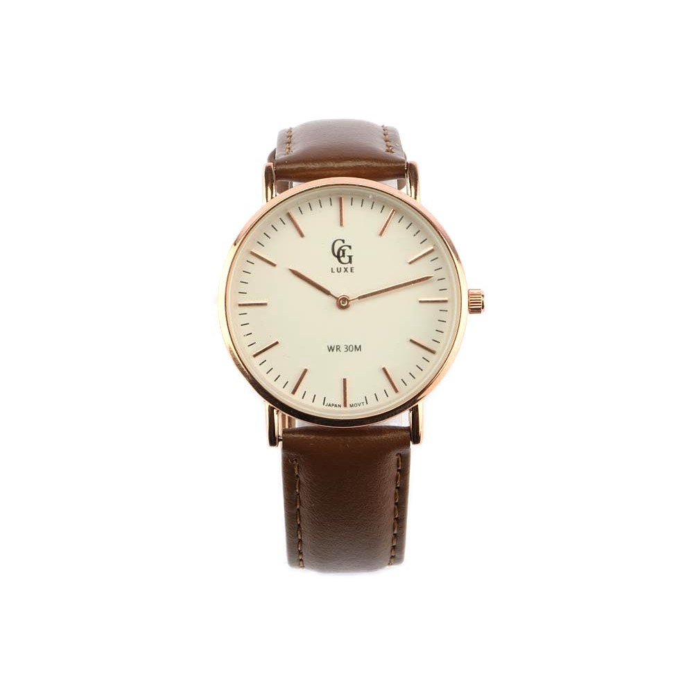 vente montre femme bracelet cuir marron nelsy boitier dor livr 48h. Black Bedroom Furniture Sets. Home Design Ideas