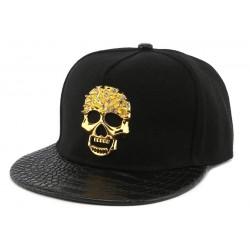 Snapback Noire Hip Hop avec insigne doré