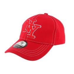 Casquette Baseball NY Rouge Surpiqures Blanches