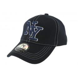 Casquette Baseball NY Bleu Surpiqures Blanches