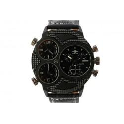 Montre homme Noire bracelet cuir 3 cadrans Kalt
